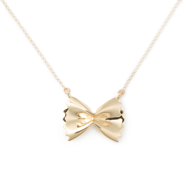 Farfelle Pasta Gold Pendant Necklace from Delicacies