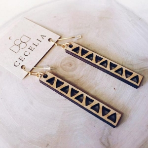 Abstract Sunflower Wood Earrings from Cecelia