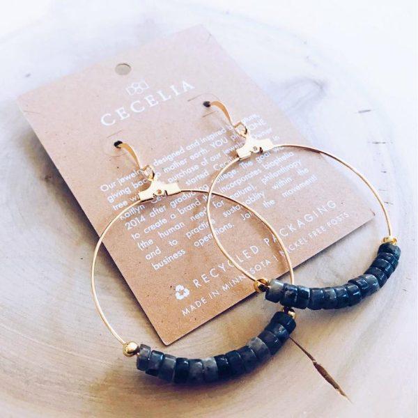 Gemstone Hoop Earrings from Cecelia