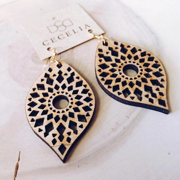 Mandala Feather Wood Earrings from Cecelia