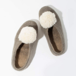 Pom Pom Felted Slippers